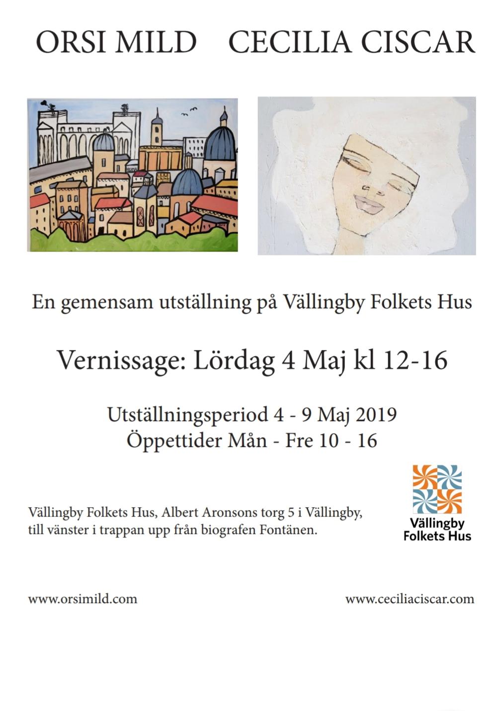 Utställningen med Orsi MIld på Vällingby Folkets hus, närmar sig med stormsteg! Det ser jag fram emot!