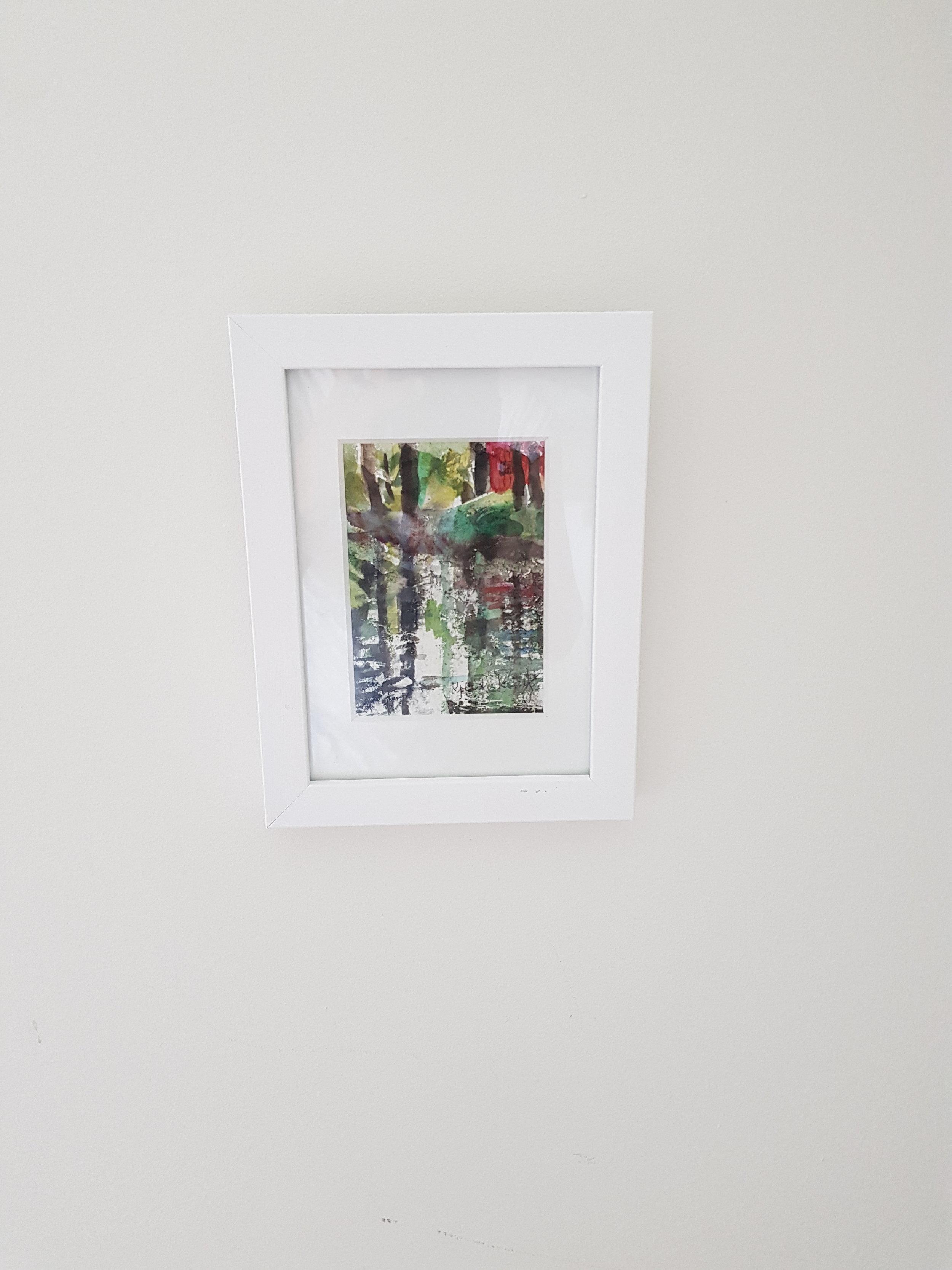 """Jag """"har blivit med tavla"""", hehe. Min konstnärsvän Kjerstin Krantz, ställde ut i helgen och jag köpte en av hennes fina tavlor. Så nöjd!"""