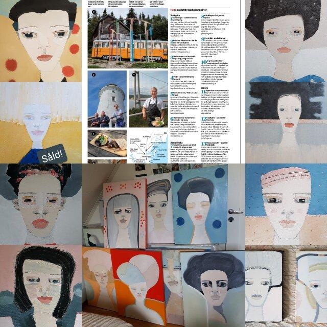 Ett collage av nya alster (en såld uppe till vänster) och artikeln om Höga kusten i Dagens nyheter, där min konst skymtar. Så kul!!