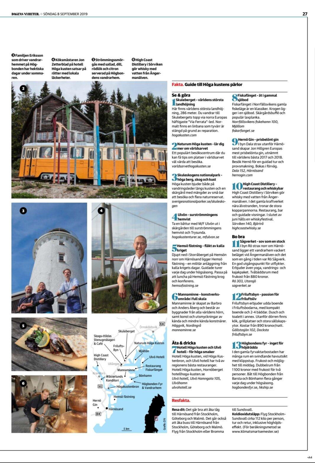 Min konst skymtar förbi i ett reportage om Höga kusten i Dagens Nyheter den 8 september 2019. Så kul!!