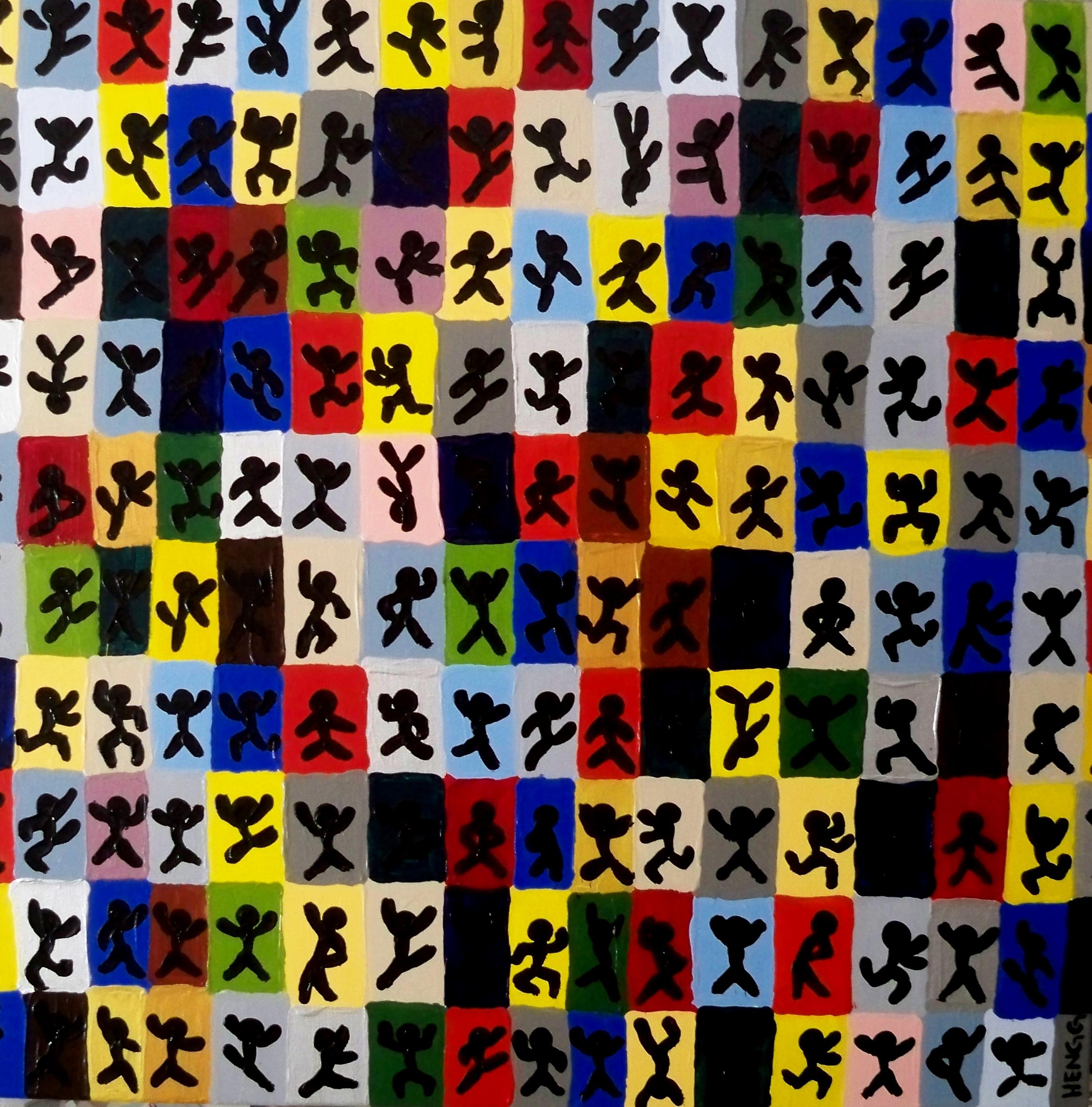 PATCHWORK FAMILY  acrylique sur toile, 100x100cm  VENDU