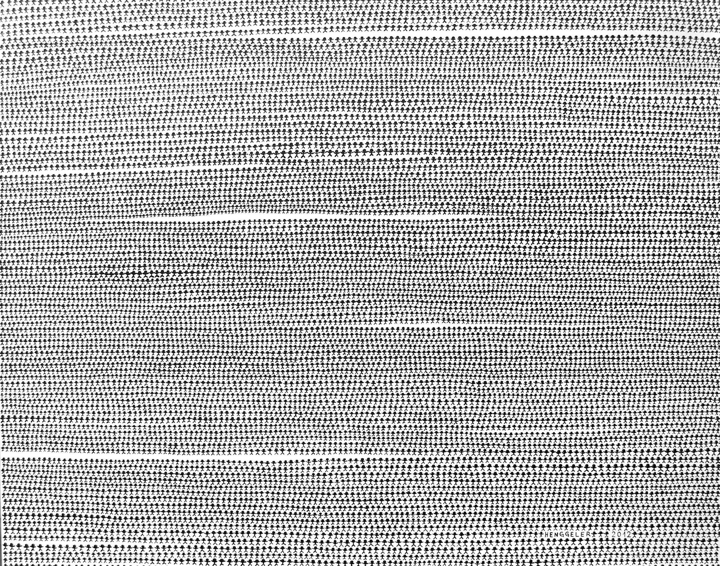 HUMAN MONOCHROME (monochrome humain)  acrylique sur toile, 150x120cm  VENDU