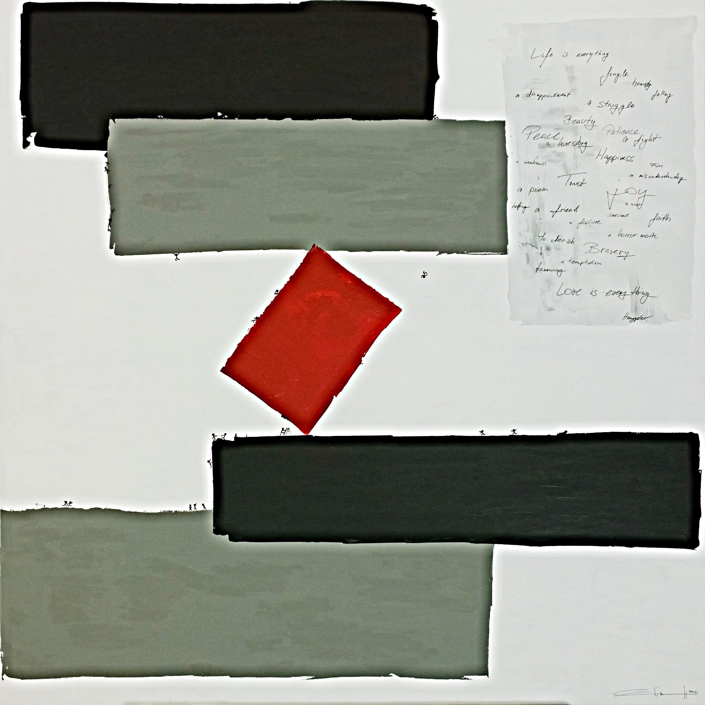 LIVE IS ... (la vie est …)  acrylique sur toile, 100x100cm  VENDU