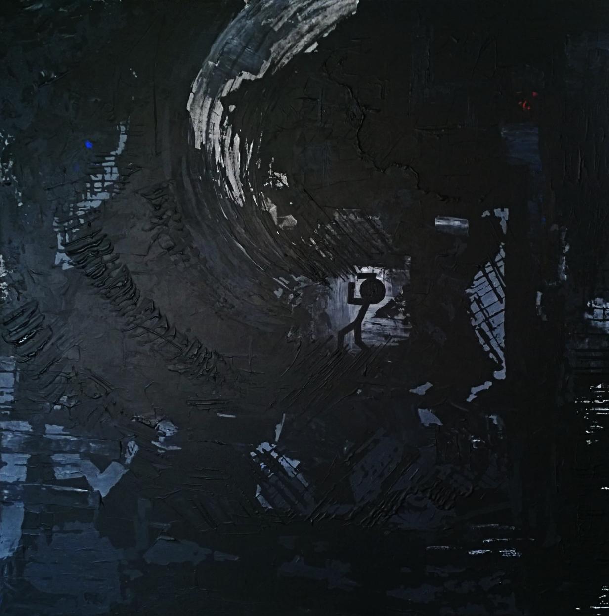 ANXIETY (anxiété)  acrylique sur toile, 100x100 cm  2'200 euros