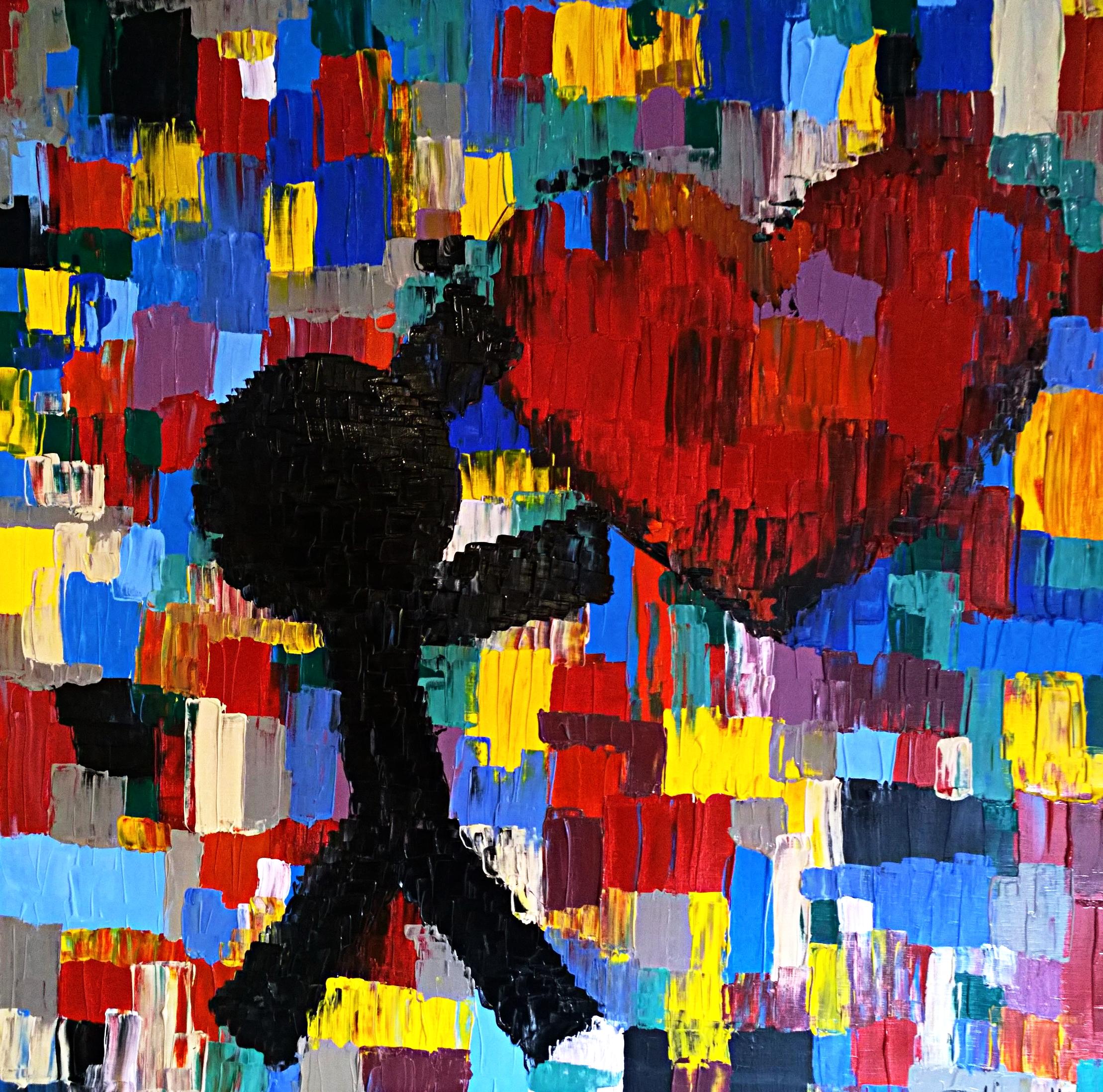 MY LOVE IN COLOURS (mon amour en couleurs)  acrylique sur toile, 100x100cm  VENDU