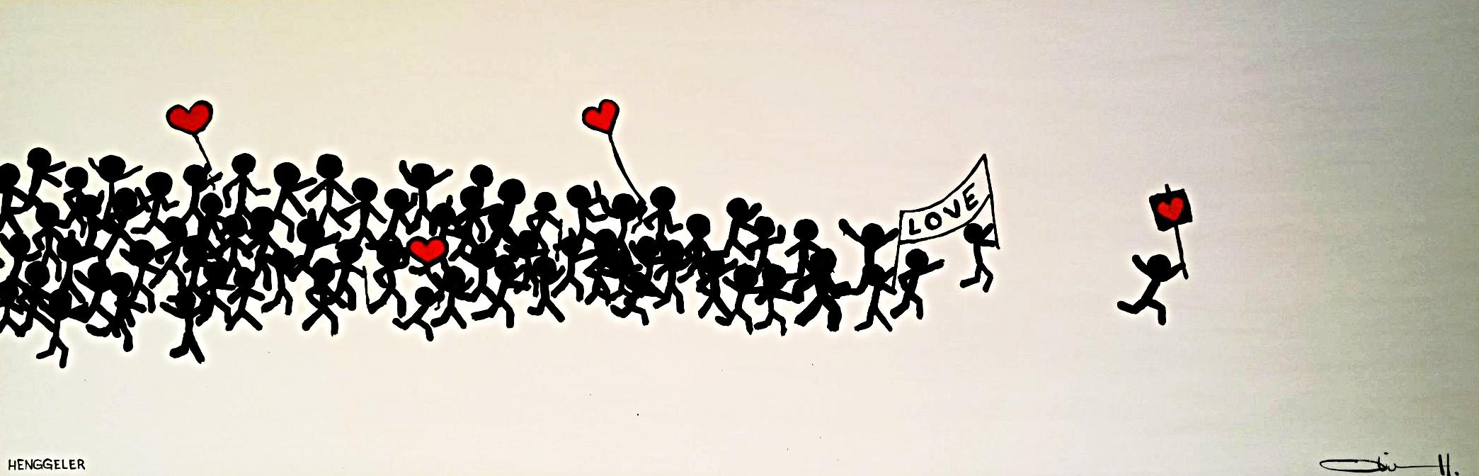 LOVE PARADE  acrylique sur toile, 120x40cm  VENDU