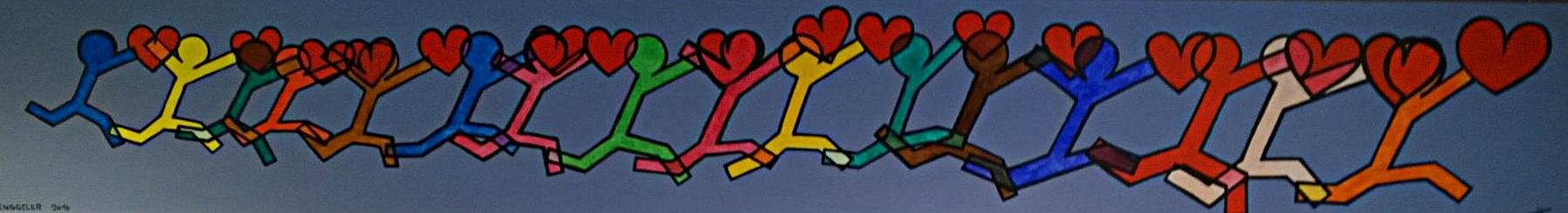 RUN FOR LOVE (cours pour l'amour)  acrylique sur toile, 240x35cm  2'100 euros