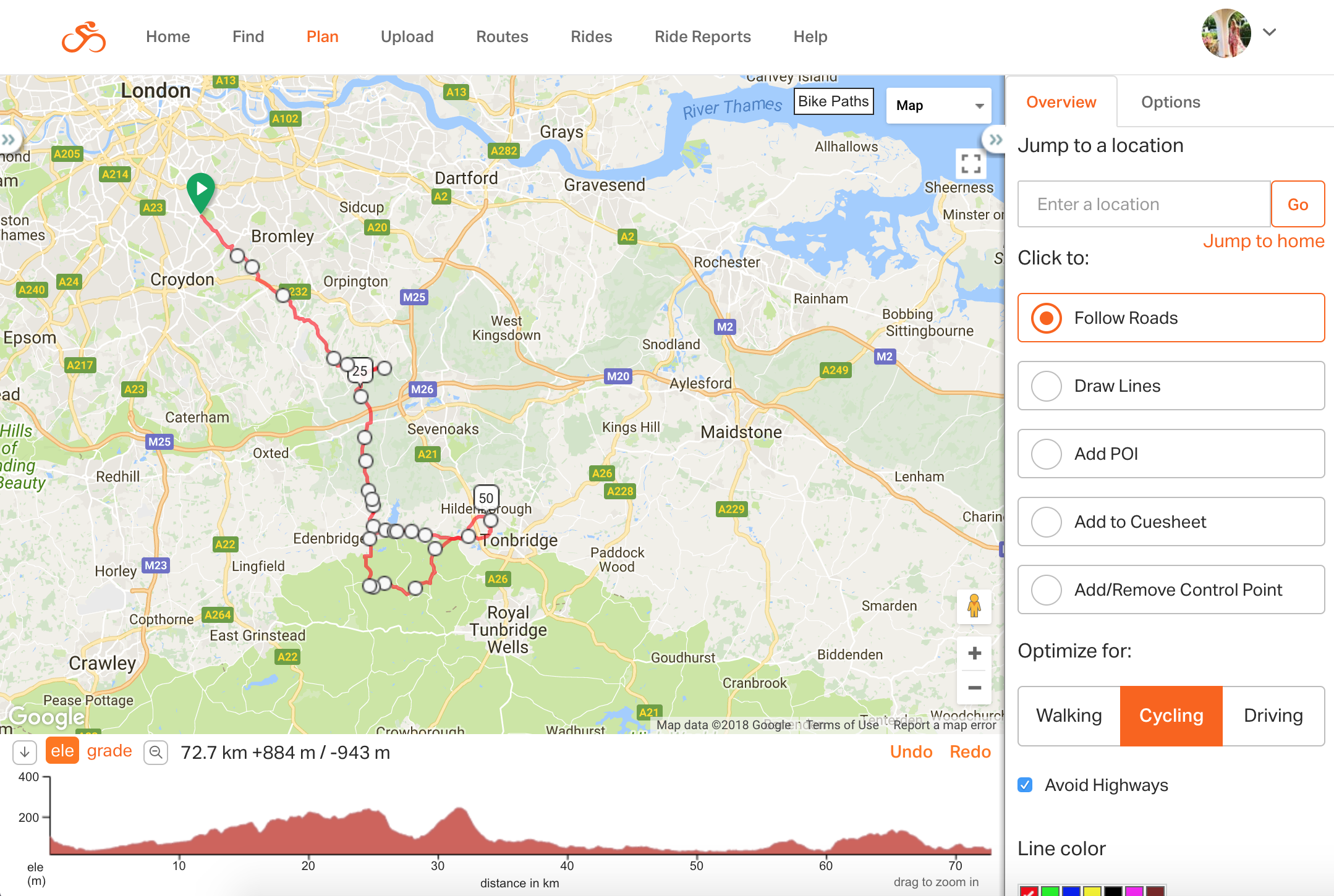 Check out the elevation graph at the bottom, so you can pre-prepare for any big hills to climb along the way. Keep note of the metres of climbing for the distance, you don't want to be spending all day climbing up gruelling big hills... or you might!