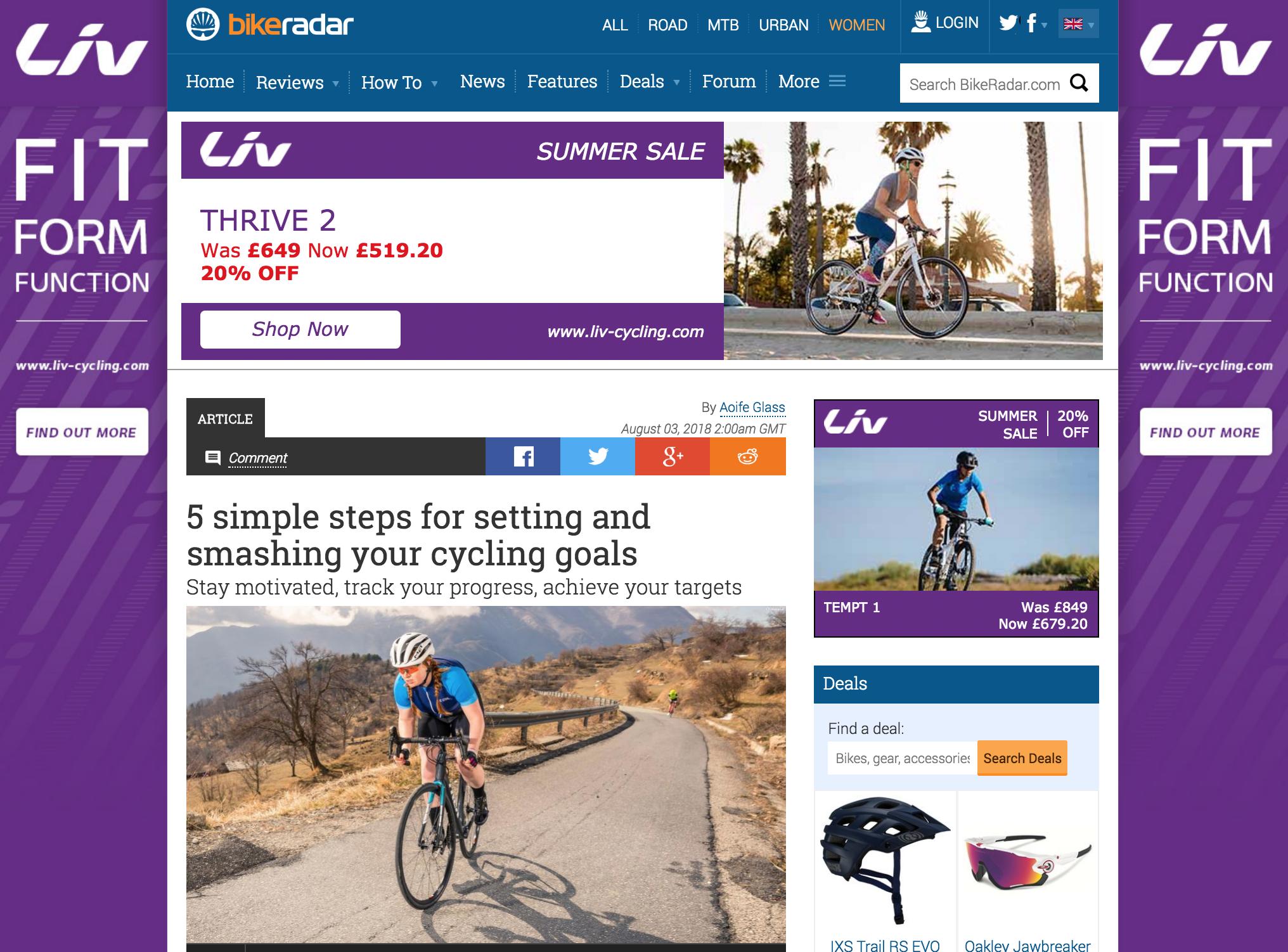 Bike Radar - Setting goals and achieving them
