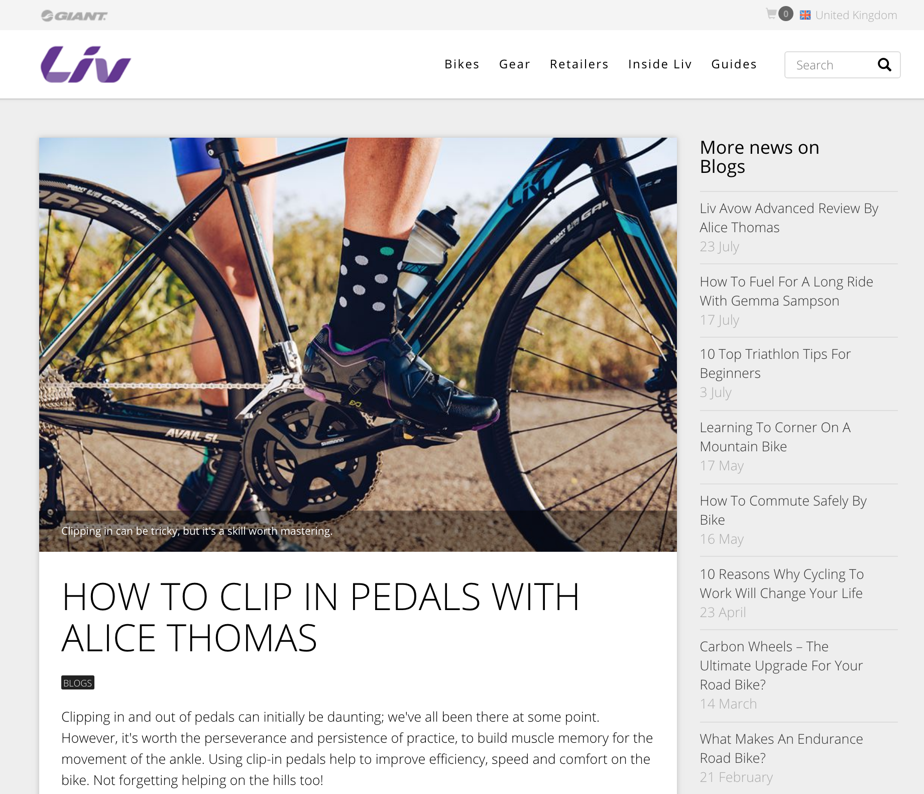 Liv Cycling - Clipping in for beginners