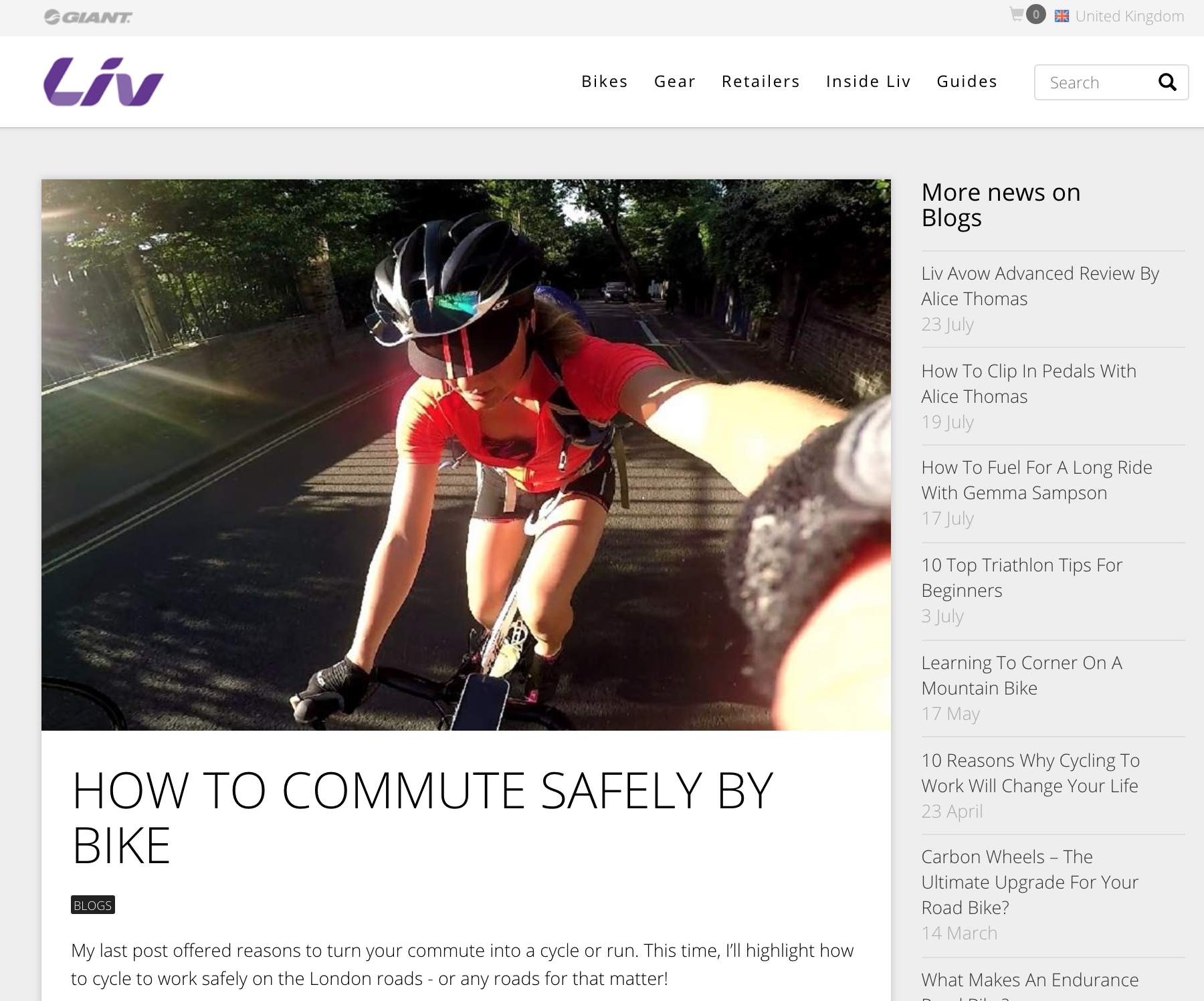 Liv cycling - How to commute safely by bike