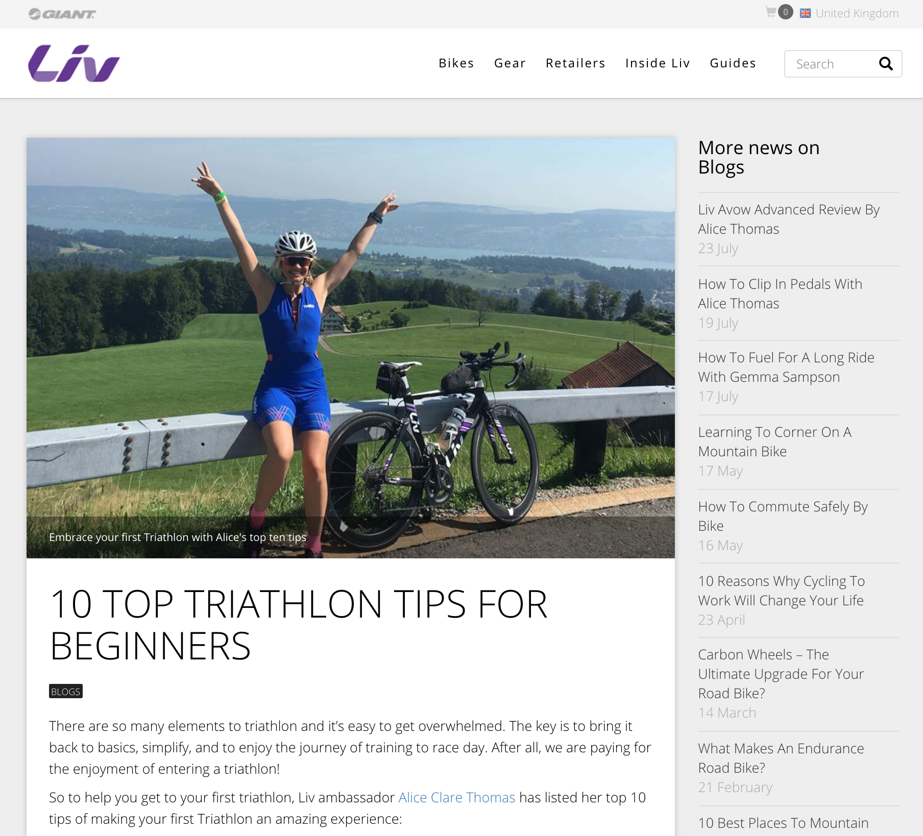 liv cycling - 10 top triathlon tips for beginners