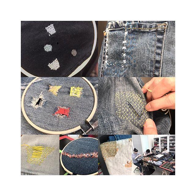看着同學們做織補,原來是很治癒的。有手工精細的同學,用不同的灰色修補很多小洞;有同學嘗試做心形的darning ; 長形的darning ; 托布做底、貼布做面用上刺子繡的針步,大家各自用着適合自己的方式去做織補。  很高興有@mill6chat 邀請我們定期在The Mills 教一系列的工作坊,大家請密切留意我們@fashion_clinic_official 五、六月的課程 。  #darning #visiblemending #mending #repair #slowfashion #ecofashion #embroidery