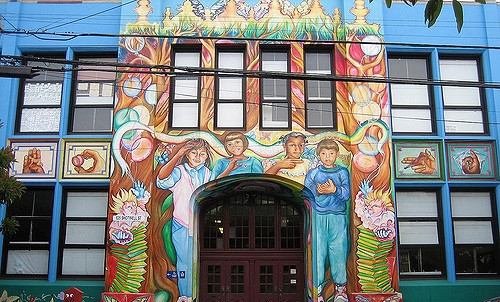 Did you know? Cesar Chavez has an American Sign Language program to educate deaf and hearing impaired children? This beautiful mural pays homage to the three languages in the school.
