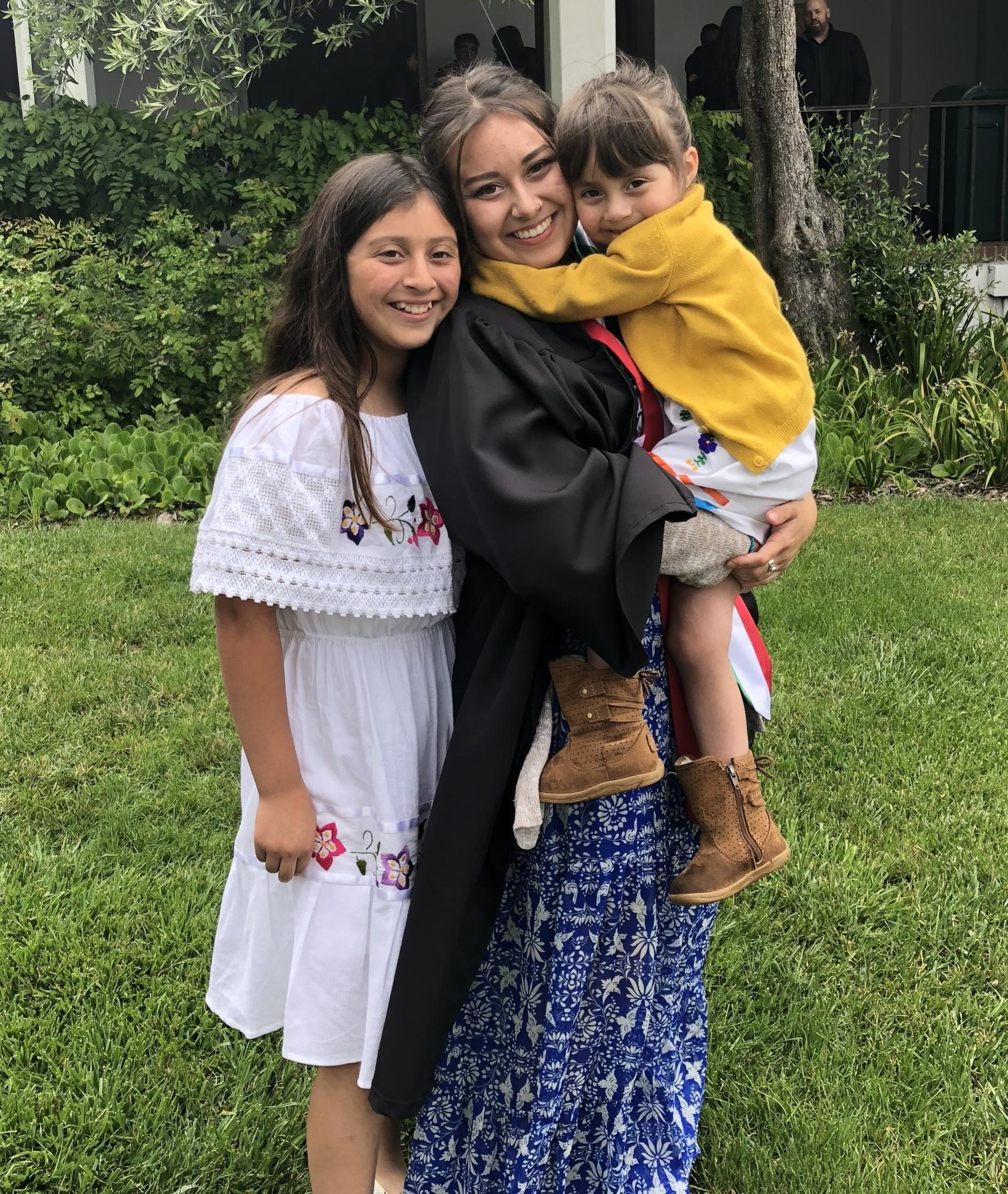 Kiara, middle, with her siblings.