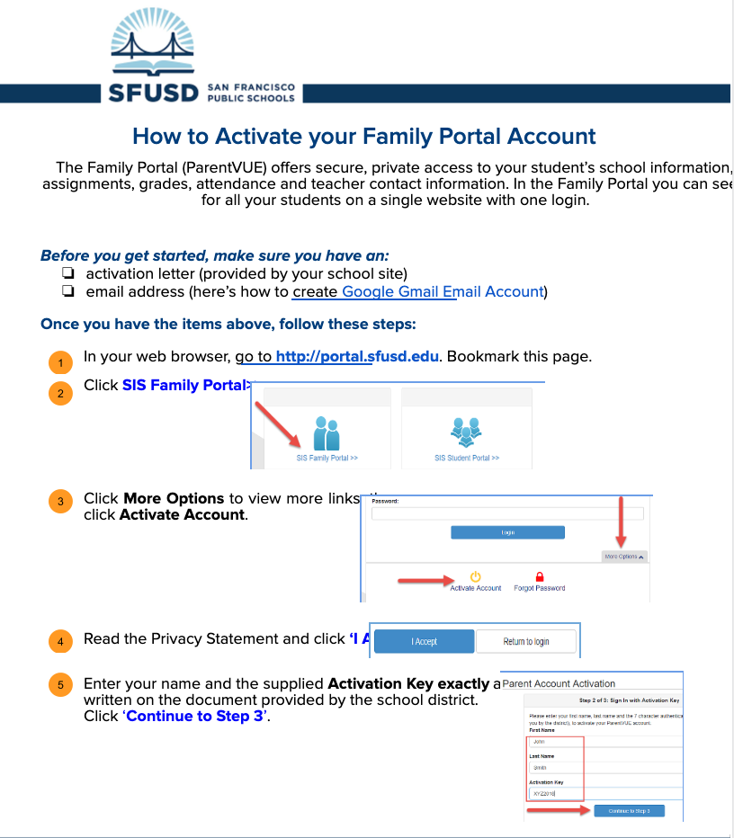 SFUSD has created a nice visual guide to explain how to set up your Family Portal account. Click on this image to access the guide.