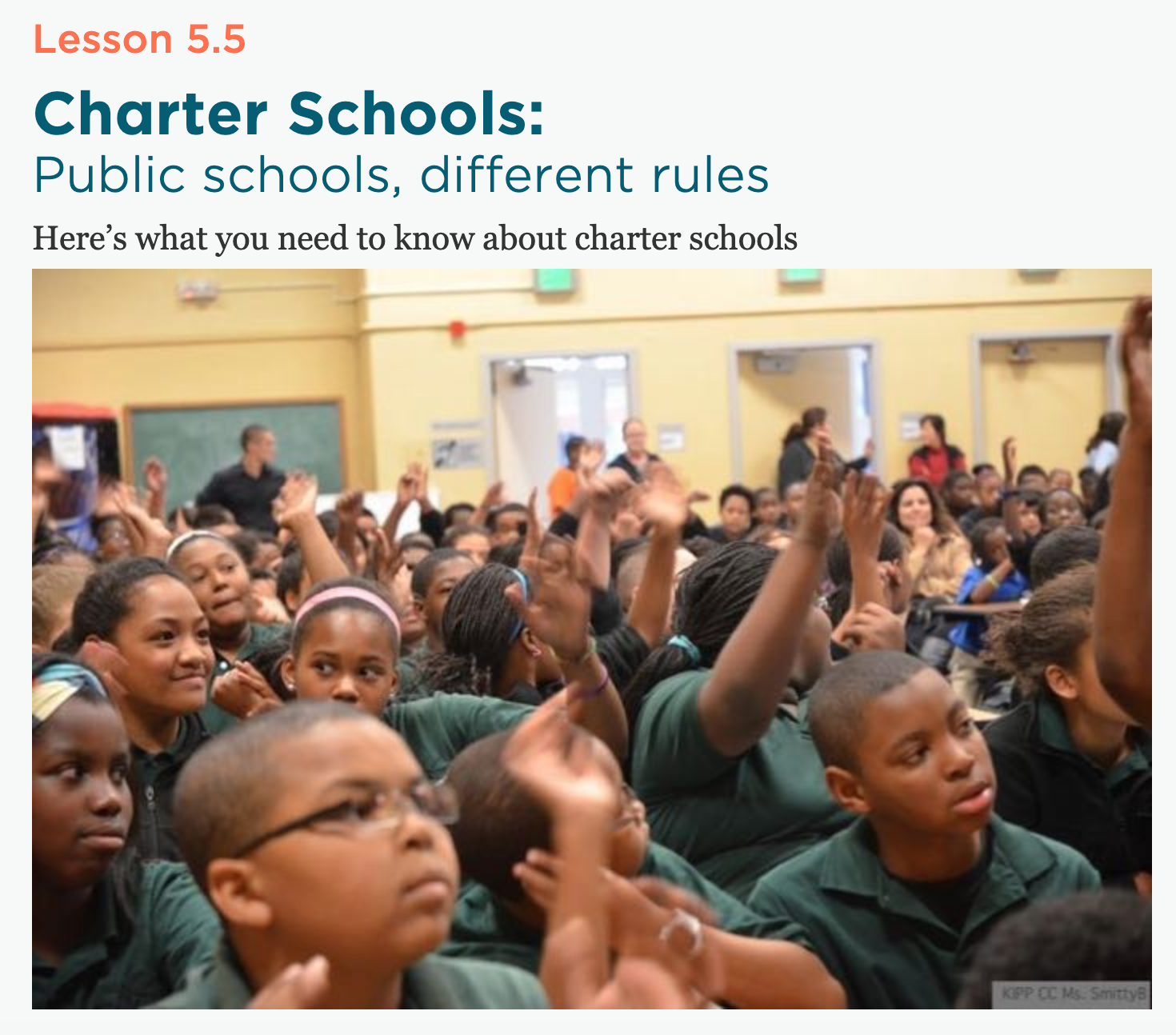 Want to learn more about charter schools? Ed100.org is a great resource.  https://ed100.org/lessons/charterschools
