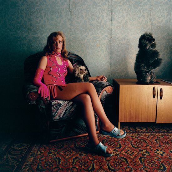 Lena with her Poodles, Russia, 2004