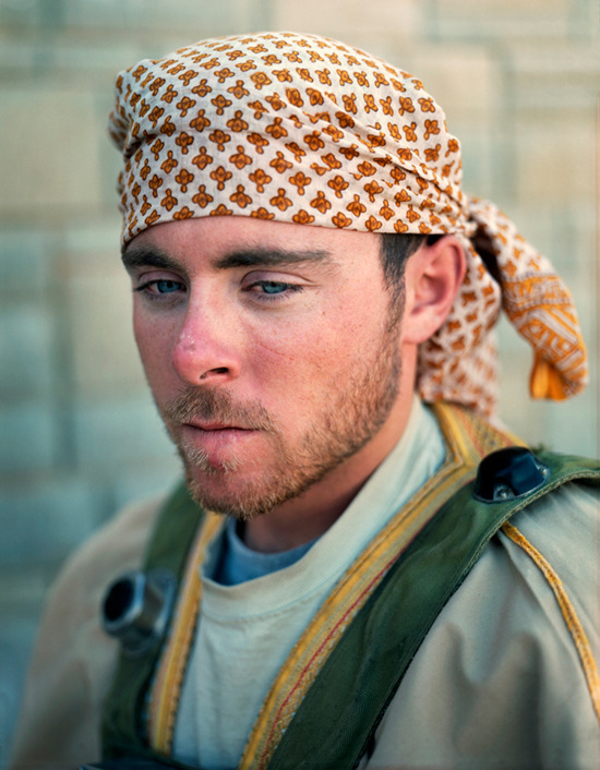 "Army Specialist Jake Morash playing the role of Iraqi ""Kahtan Abban Issa,""  an anti-American IED maker, Medina Wasl Village, National Training Center, Fort Irwin, CA, 2008"