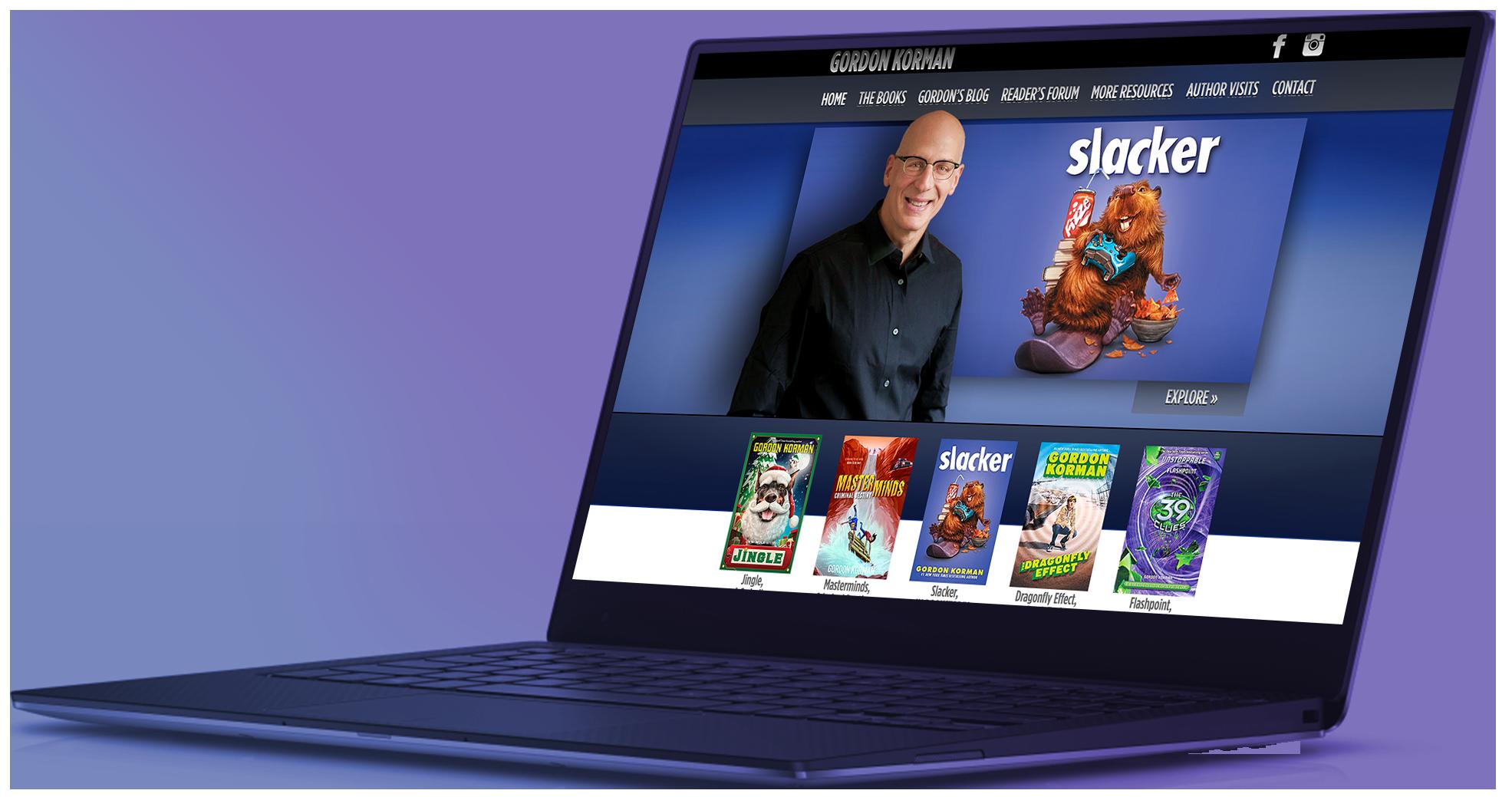 Slacker - 4 GordonKorman.com Website States in Dell Laptop Frame 0032.png