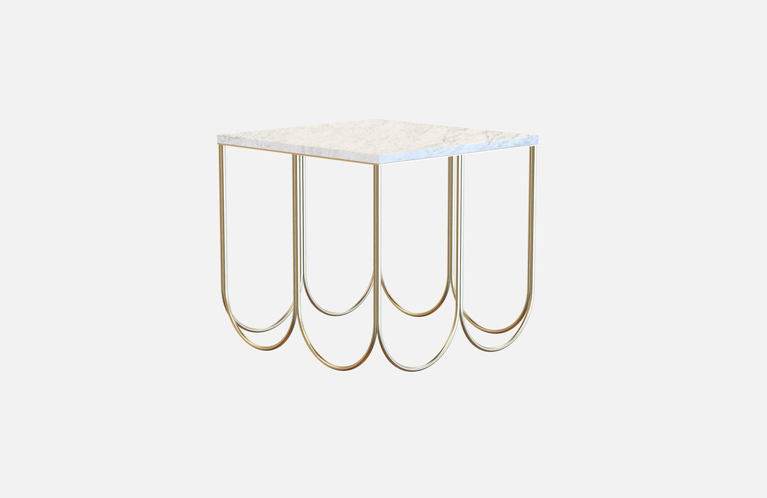Otto coffee table, brass plated or powder coated with white or black marble top, dimensions: 55x55x50cm, several stone and coating options available on request