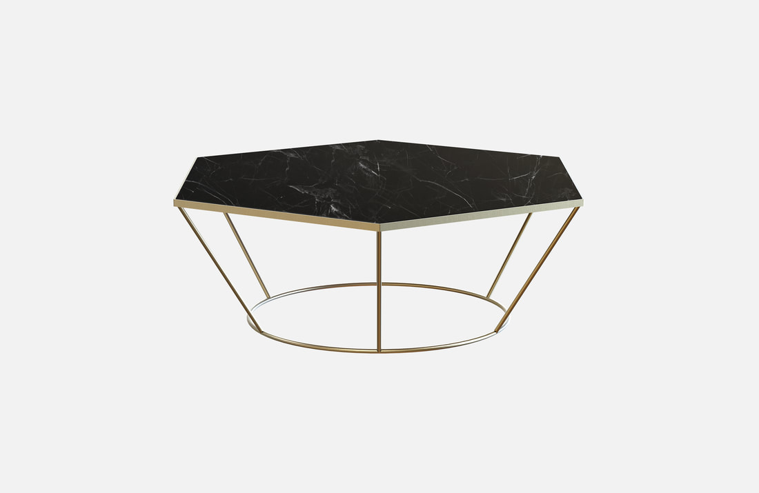 Sei coffee table, brass plated or powder coated with white or black marble top, dimensions: 100x85x40cm