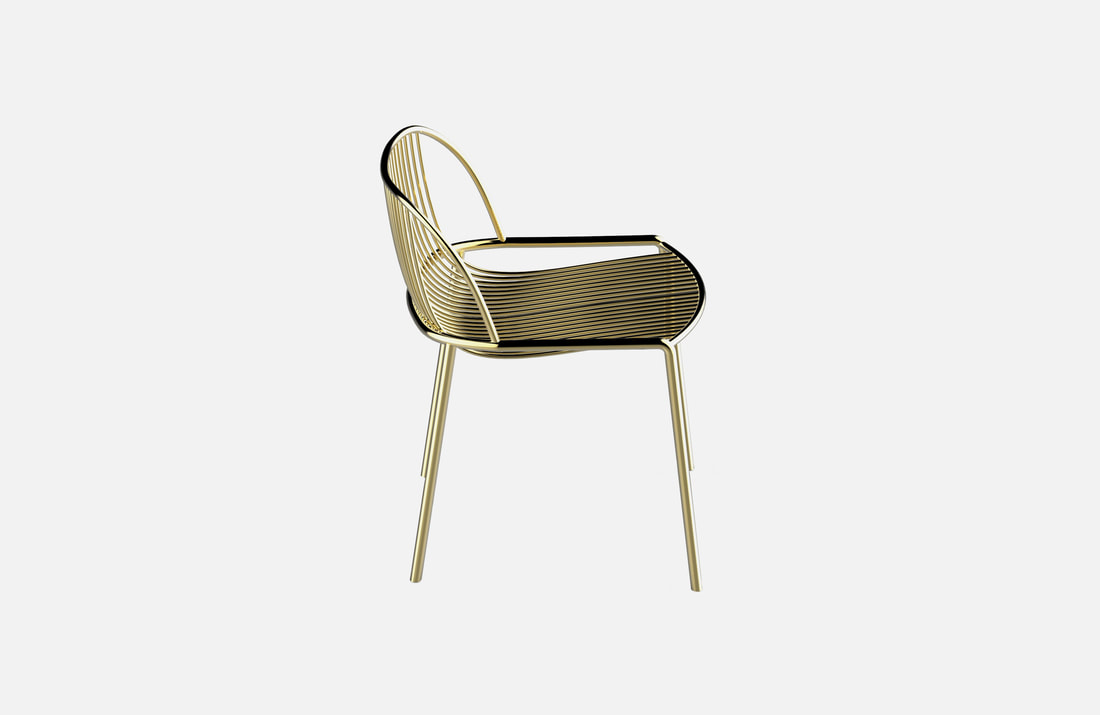 Serena chair, brass plated or powder coated, dimensions: 75x45cm, several options available