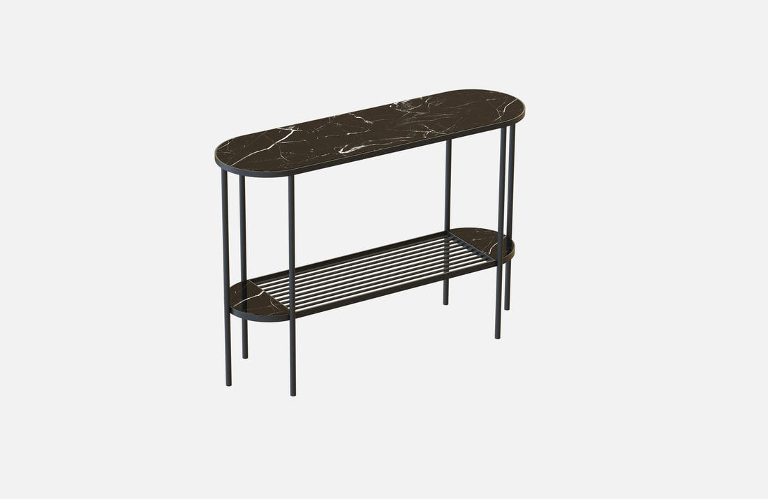 Console Touch, brass plated or powder coated, black or white marble top, dimensions: 30x100x80cm