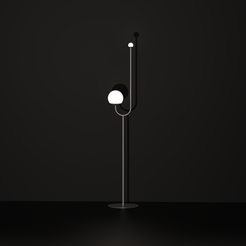 Reach floor lamp, brass plated or powder coated, height: 160cm