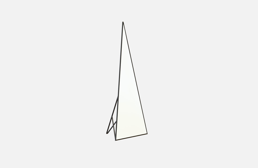 Peak mirror, brass plated or powder coated, dimensions: 45x75x175cm