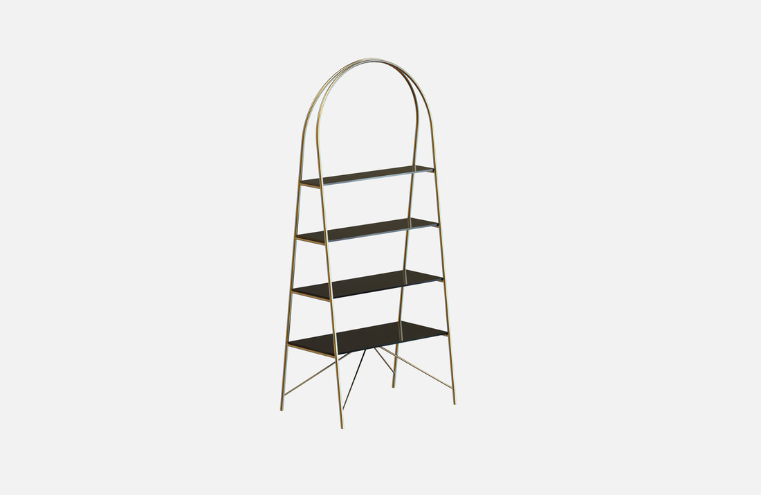 Bisset bookcase, brass-plated or powder-coated with glass or marble shelves, dimensions: 85x55x200cm