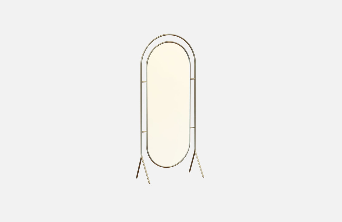 Rave mirror, self-portrait plated brass or powder coated, dimensions: 85x40x200
