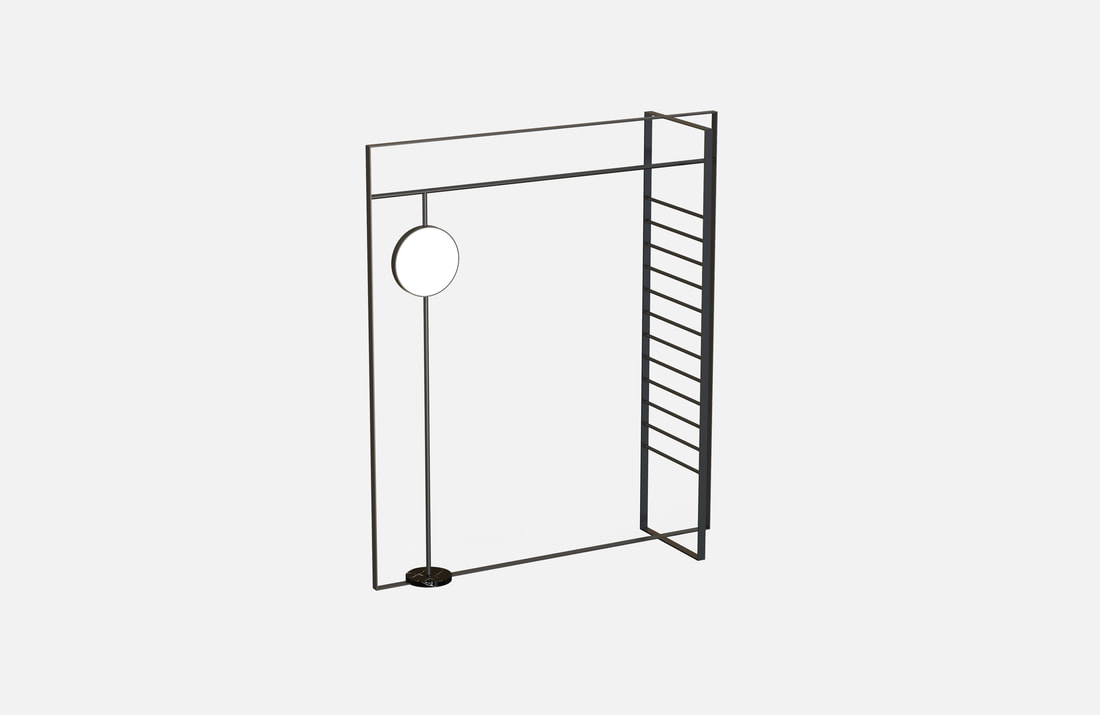 Tina clothing display stand, powder coated, dimensions: 40x140x160cm