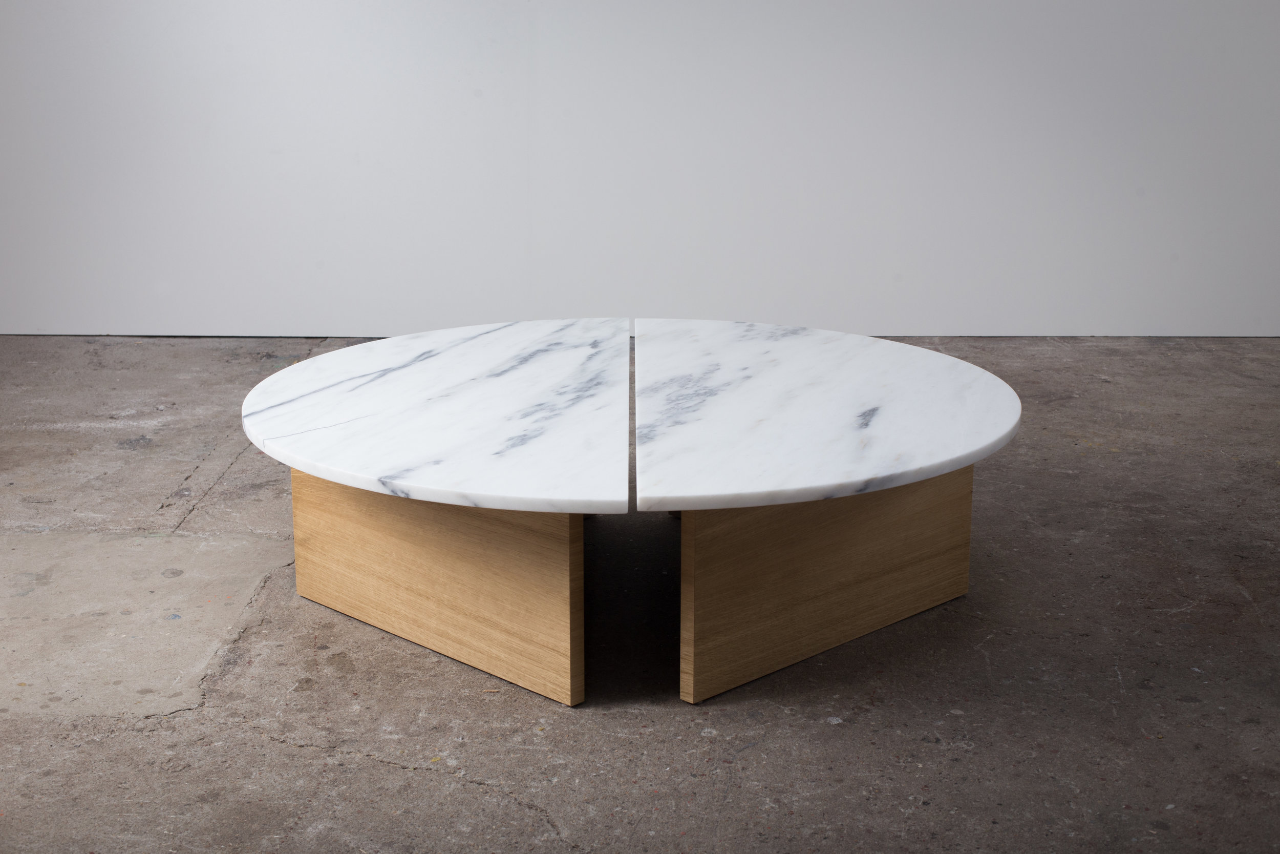 Half Moon, coffee table composed of two halves with white oak base and marble top