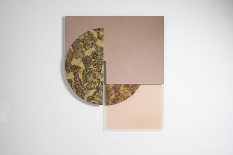 "Meret, composition from antique gold mirror, peach mirror, peach glass, white oak brass, dimensions: 45 ""x39"" x1.5 """