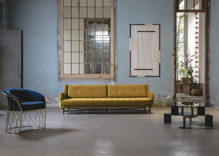Dino / Alexander Diaz Andersson, upholstered sofa in walnut and velvet, dimensions: 80cmx110xmx245cm