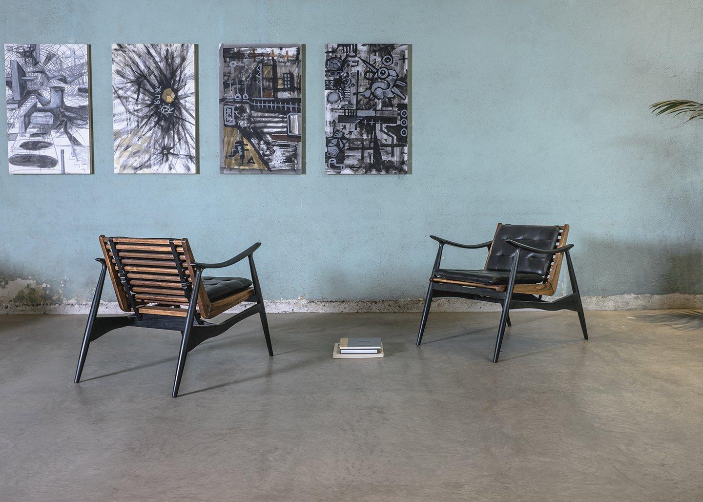 Atra / Alexander Diaz Andersson, leather chair, brass and hardwood, dimensions: 64cmx68cmx95cm
