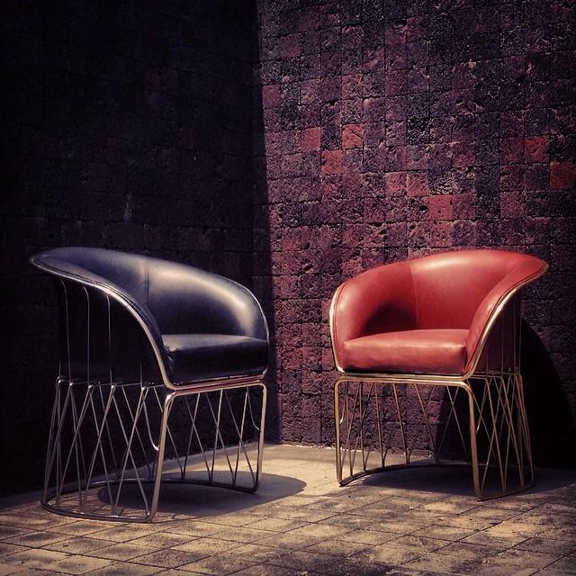 Equipal / Pedro Ramírez Vázquez, leather armchair, velvet and metal or brass, dimensions: 90cmx70cmx85cm