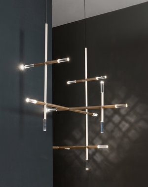 Jax, chandelier composed of modular elements with aluminum body, LED light, and polished crystals