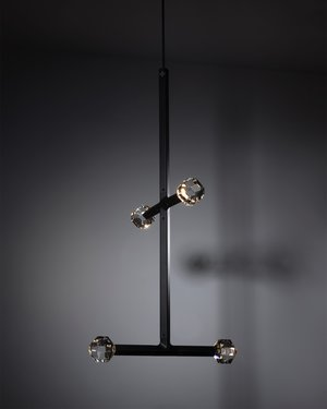 Joulle, chandelier composed of modular elements with aluminum body, LED light and polished crystals