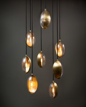 Oona mini, hand-molded metal pendant light with mouth-blown glass