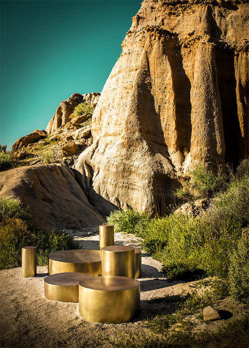 Mushroom city, high style table in solid brass, bronze or stainless steel on wood