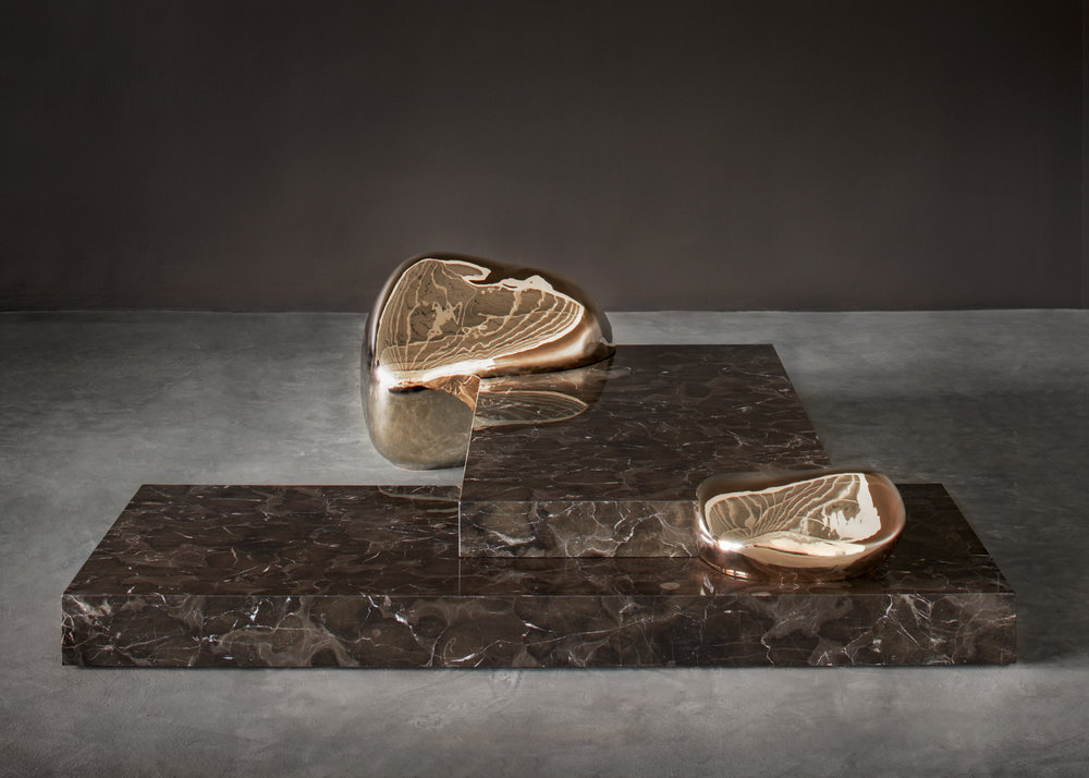 Metalithoide, sculptural piece in cast bronze and Saint Laurent marble
