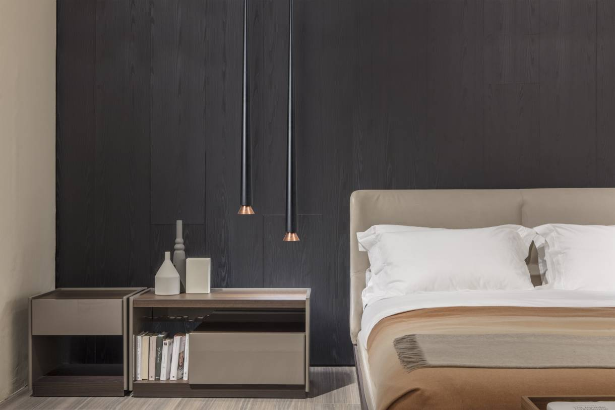 May, suspended luminaire forming a slim and elegant straight line, diffusing a ray of light while breaking the homogeneity of the space