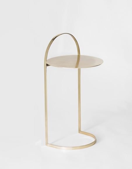 Alça side table, simple and functional, in solid brass or steel with microtextured black finish, 36x36x71cm