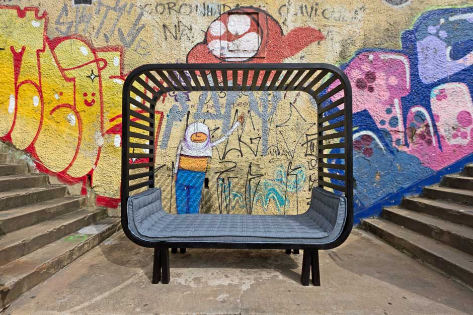 Shelter bench / Jahara studio, piece of mobile architecture