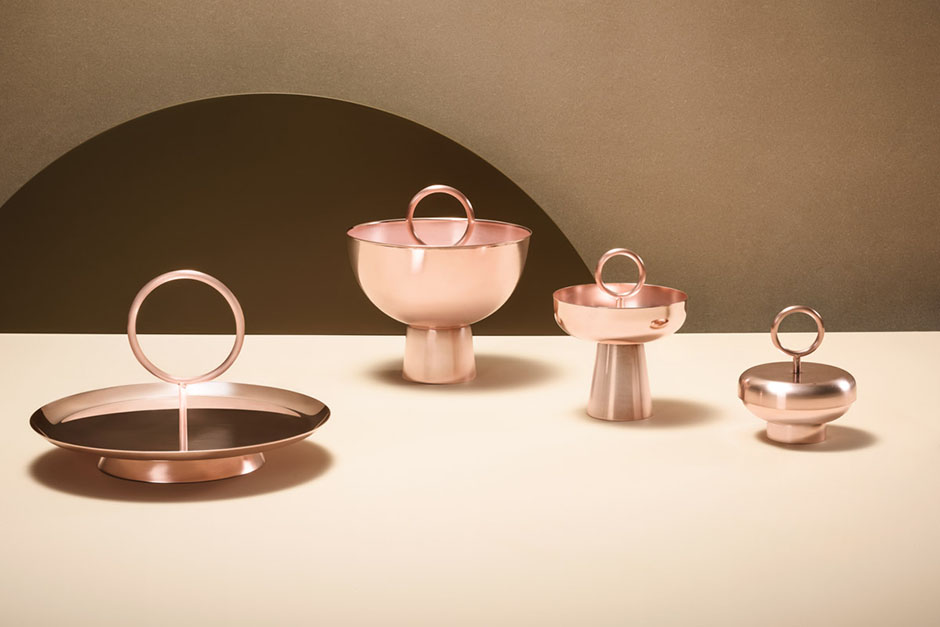 Stacks / Jahara studio, series of silver plated decorative objects with trays, candle holders, boxes and buckets
