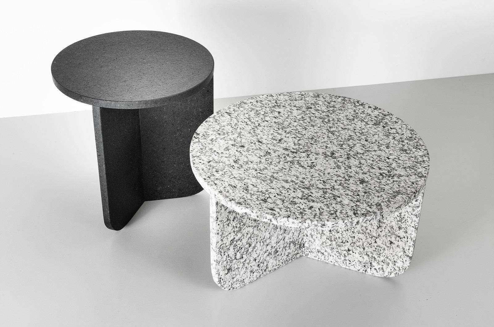 Leme / Rain, side table (40x41cm) and coffee table (55x31cm), marble