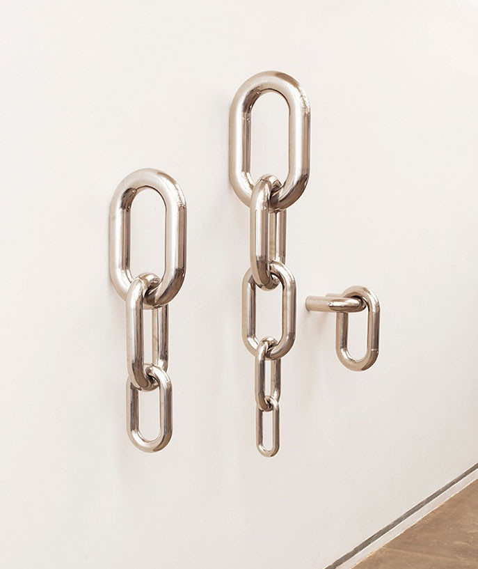 Chains / Rain, wall decoration, stainless steel