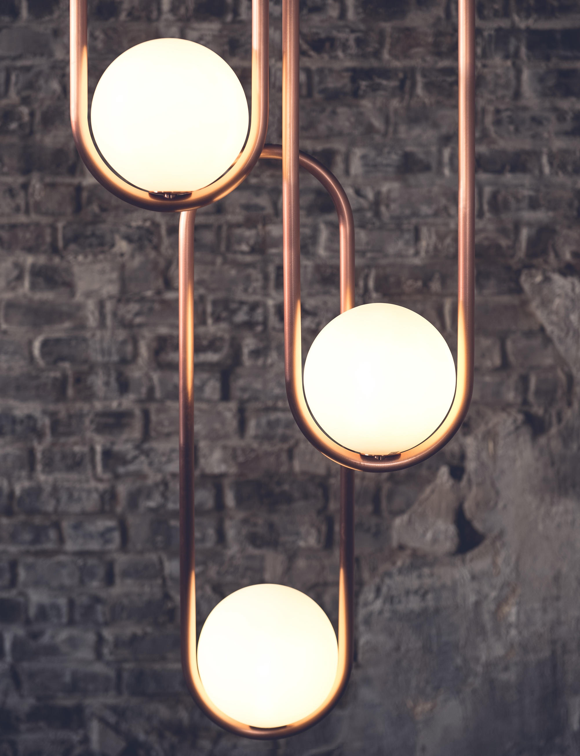 Mila, finish available in brushed copper, brushed brass, black satin or textured white